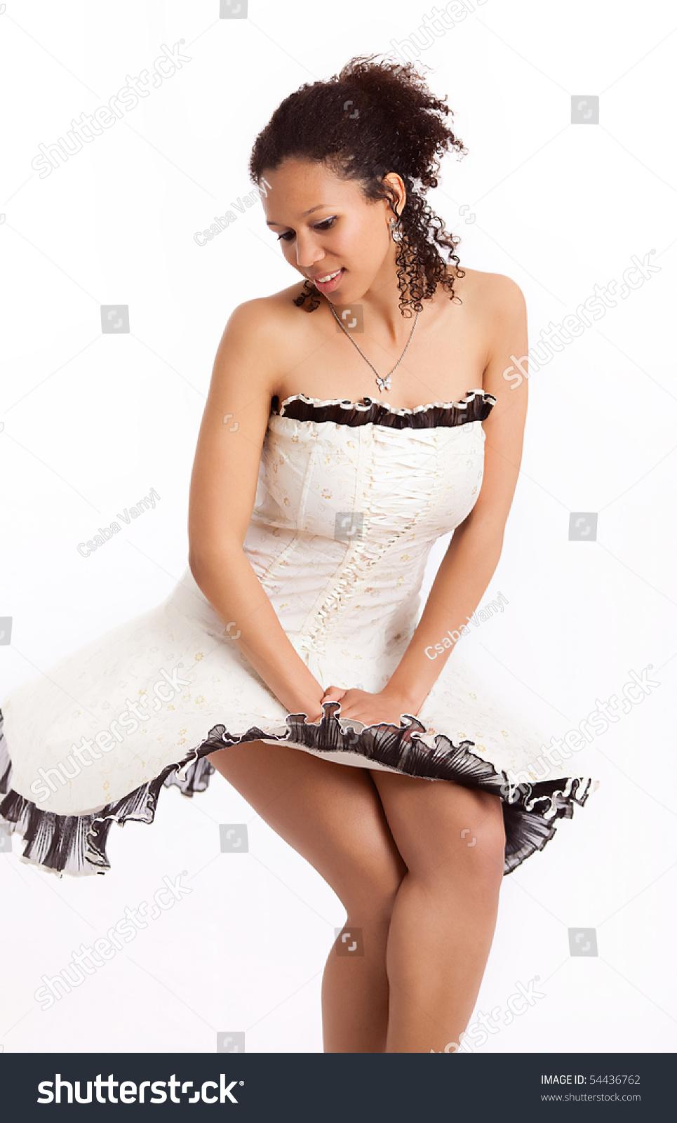 Beautiful African American Woman Skirt Blown Stock Photo 54436762 ...