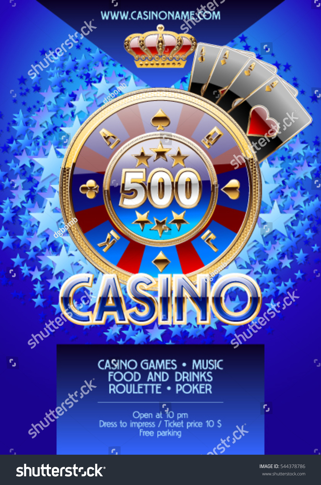 vector template promo flyer casino night stock vector  vector template promo flyer for casino night party