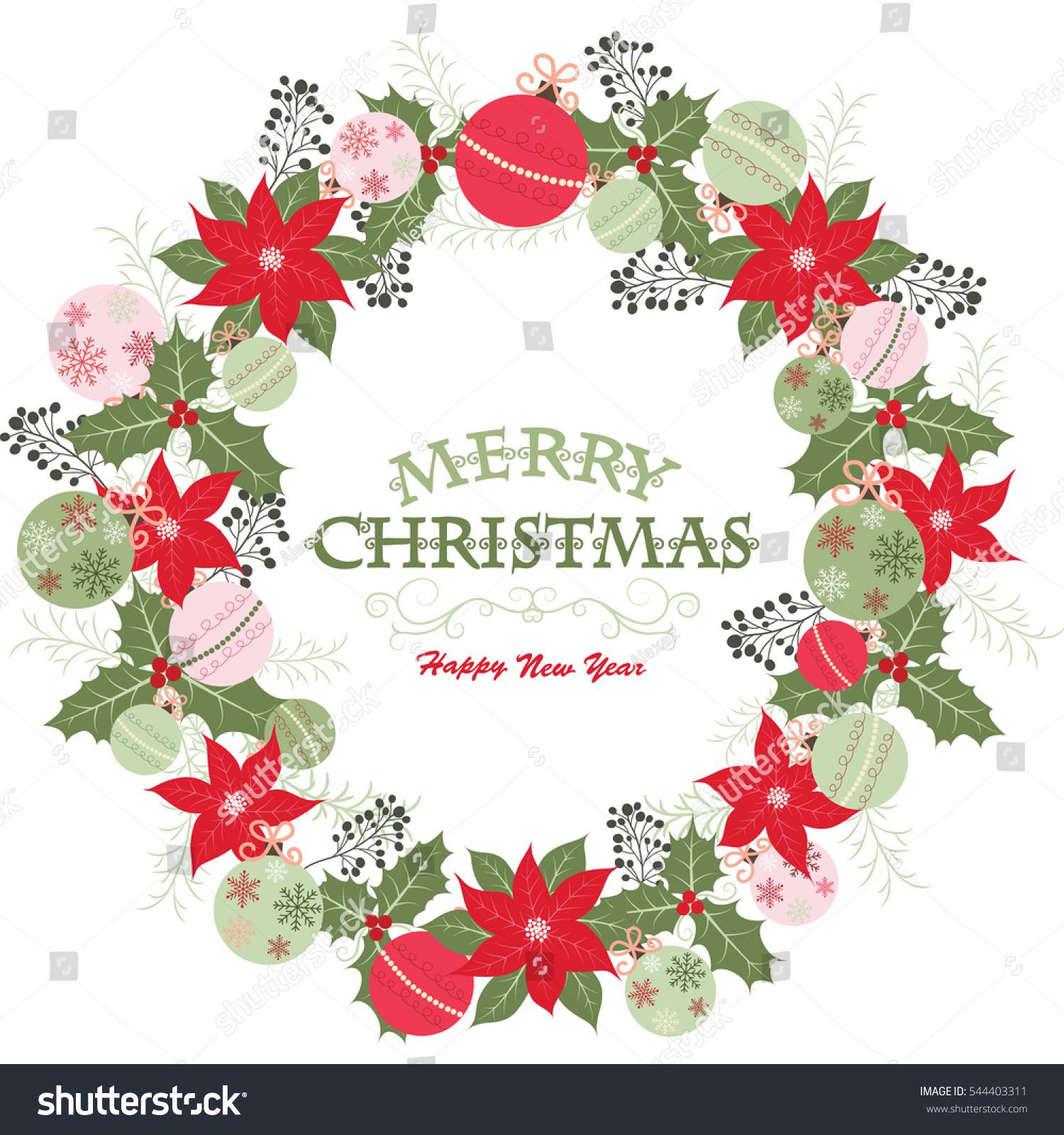 Christmas wreath merry christmas happy new stock vector royalty christmas wreath with merry christmas and happy new yearristmas greeting cardristmas invitation stopboris Choice Image