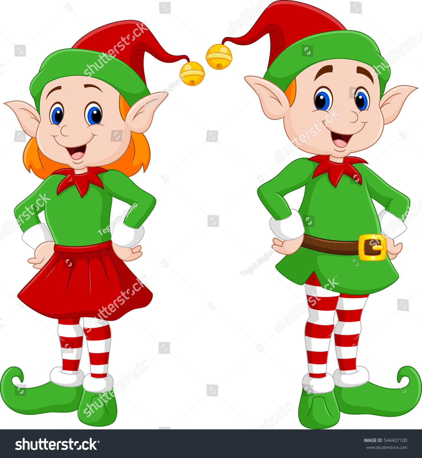Cartoon Happy Christmas Elf Couple Stock Illustration
