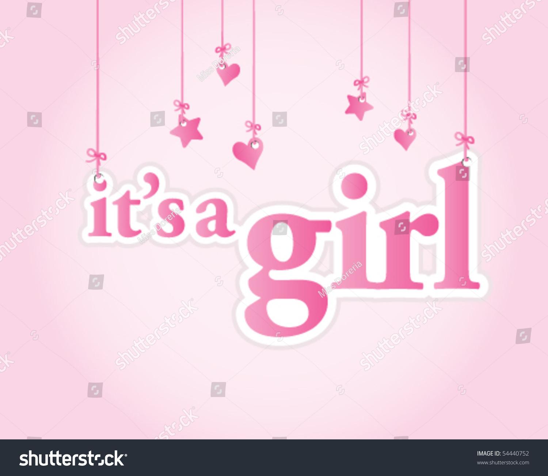 it 39 s a girl baby shower celebration light pink vector illustration