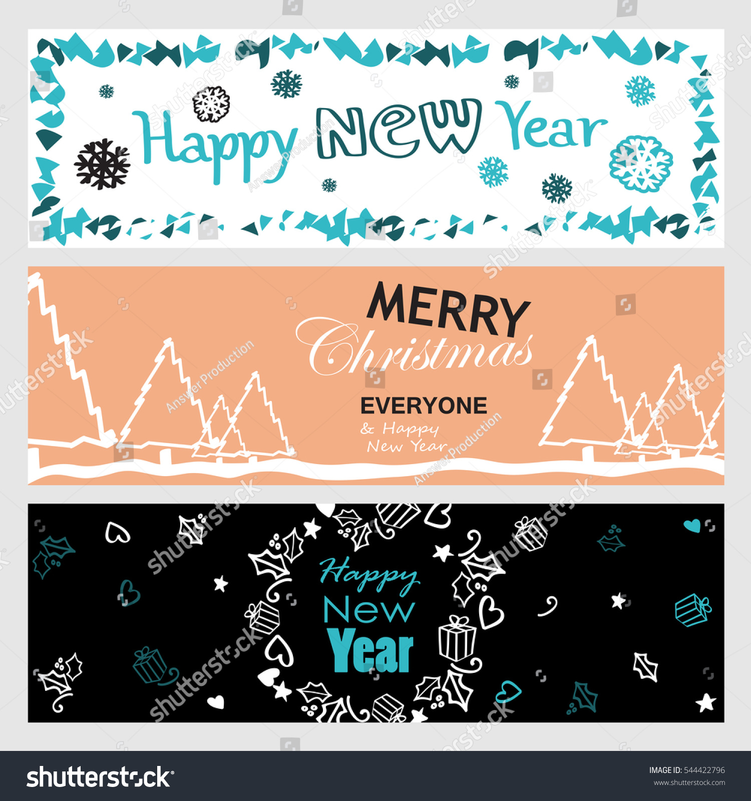 Collection Flat Design Greeting Cardsvector Illustration Hand Stock