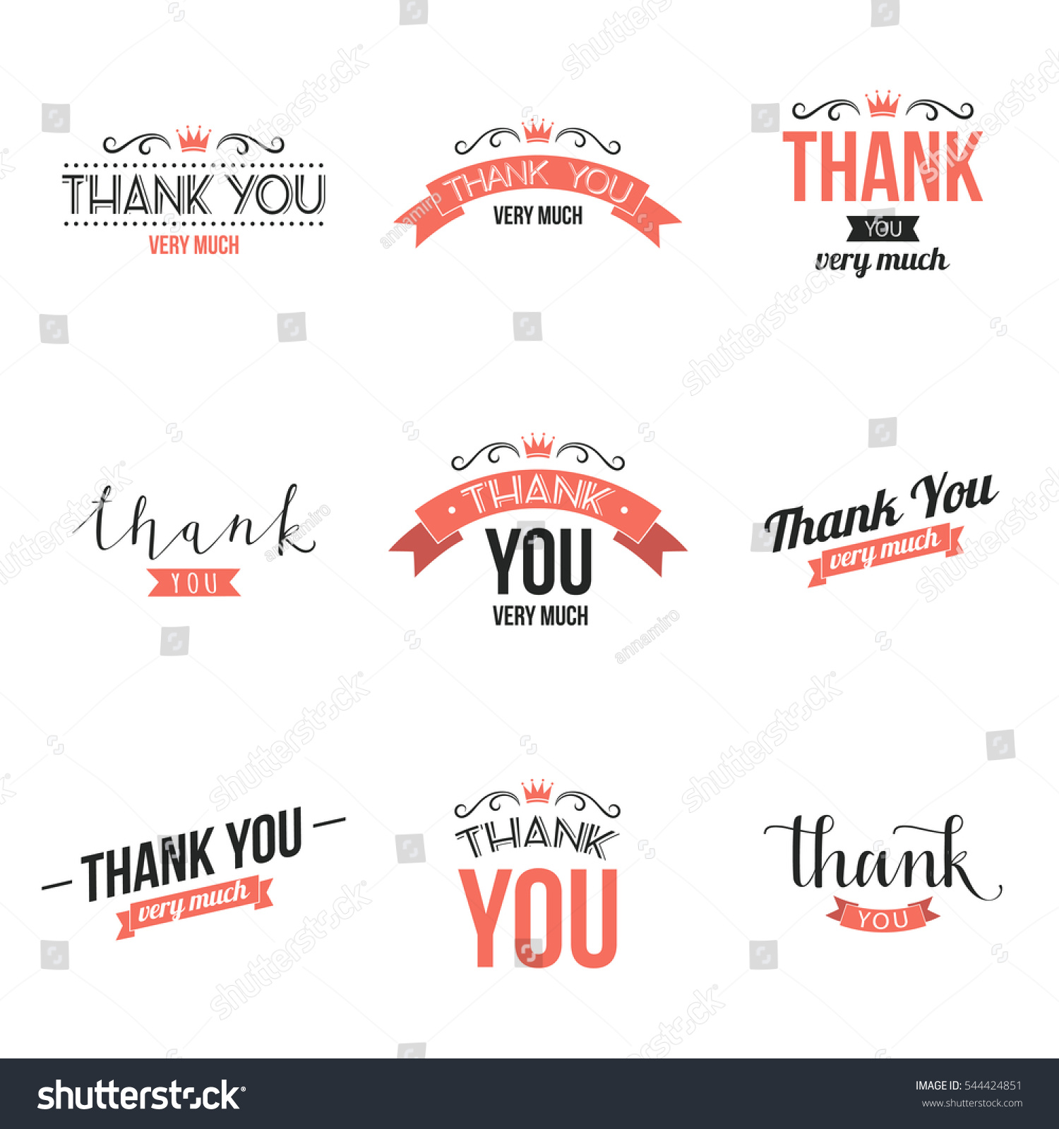 Collection Thank You Typography Designs Vector Stock