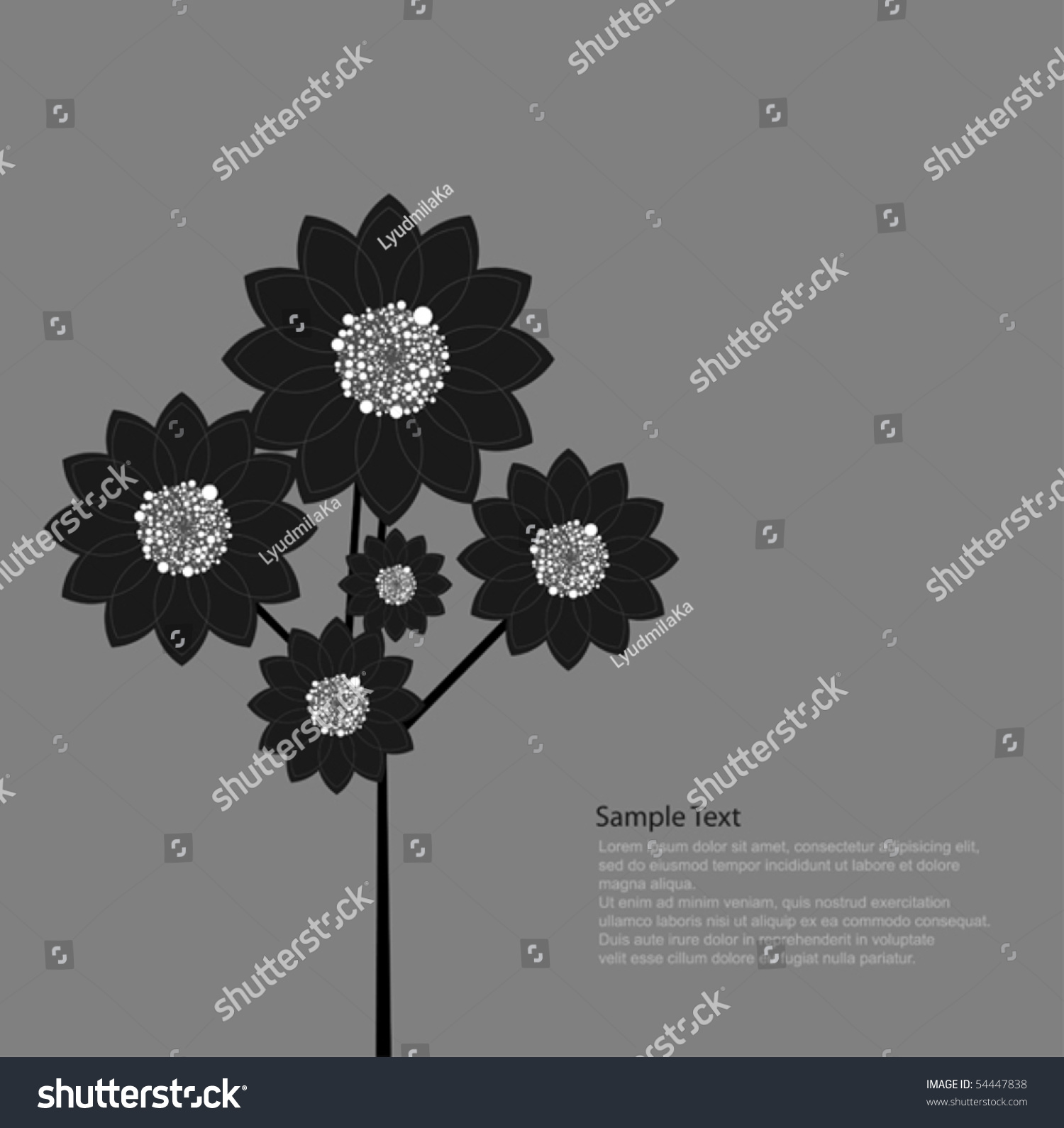 Black Flower Stock Vector Illustration Shutterstock