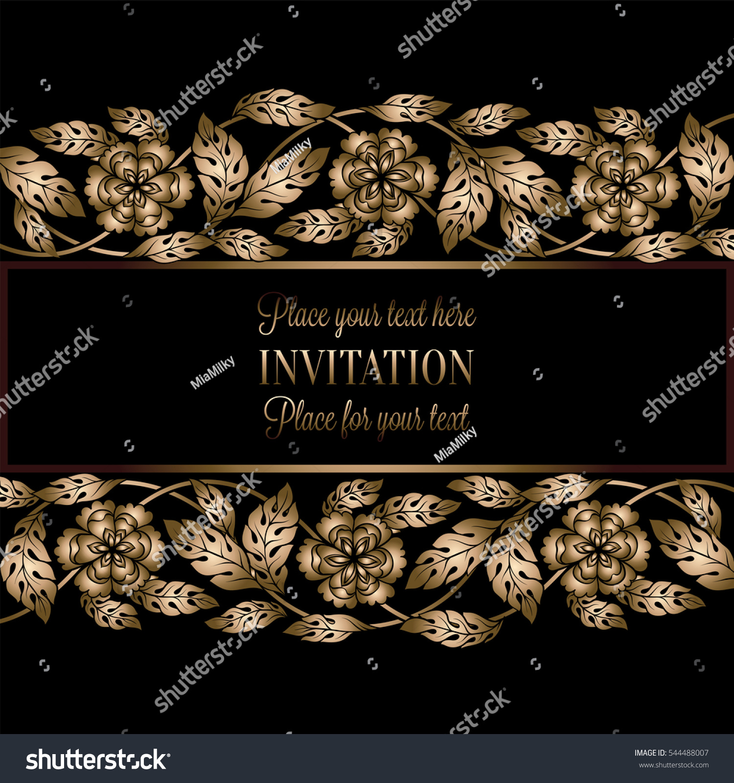 Floral Background Antique Luxury Black Gold Stock Vector Royalty