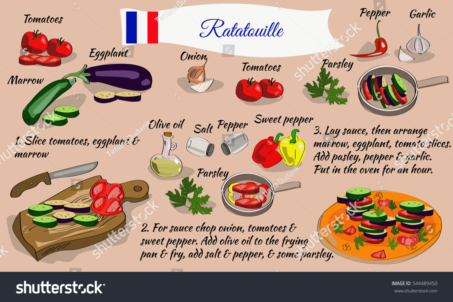 Step By Step Recipe Ratatouille French Stock Vector Royalty Free 544489450