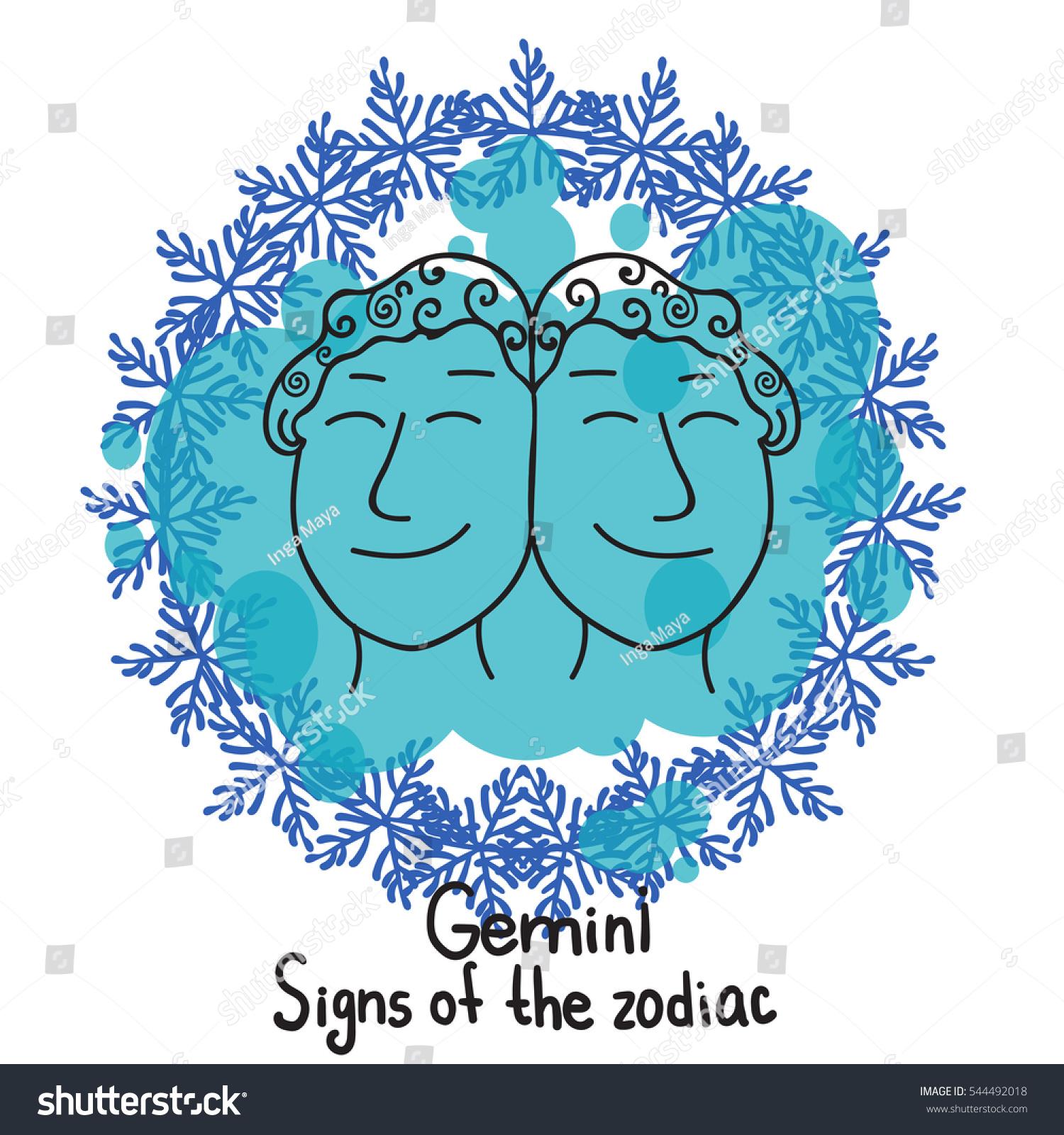 Signs zodiac horoscope hand drawing gemini stock vector 544492018 signs of the zodiac horoscope hand drawing gemini symbol winter frame of snowflakes buycottarizona