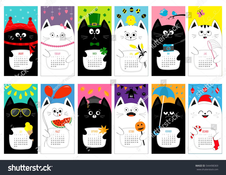 Character Design Monthly : Cat vertical monthly calendar all stock vector