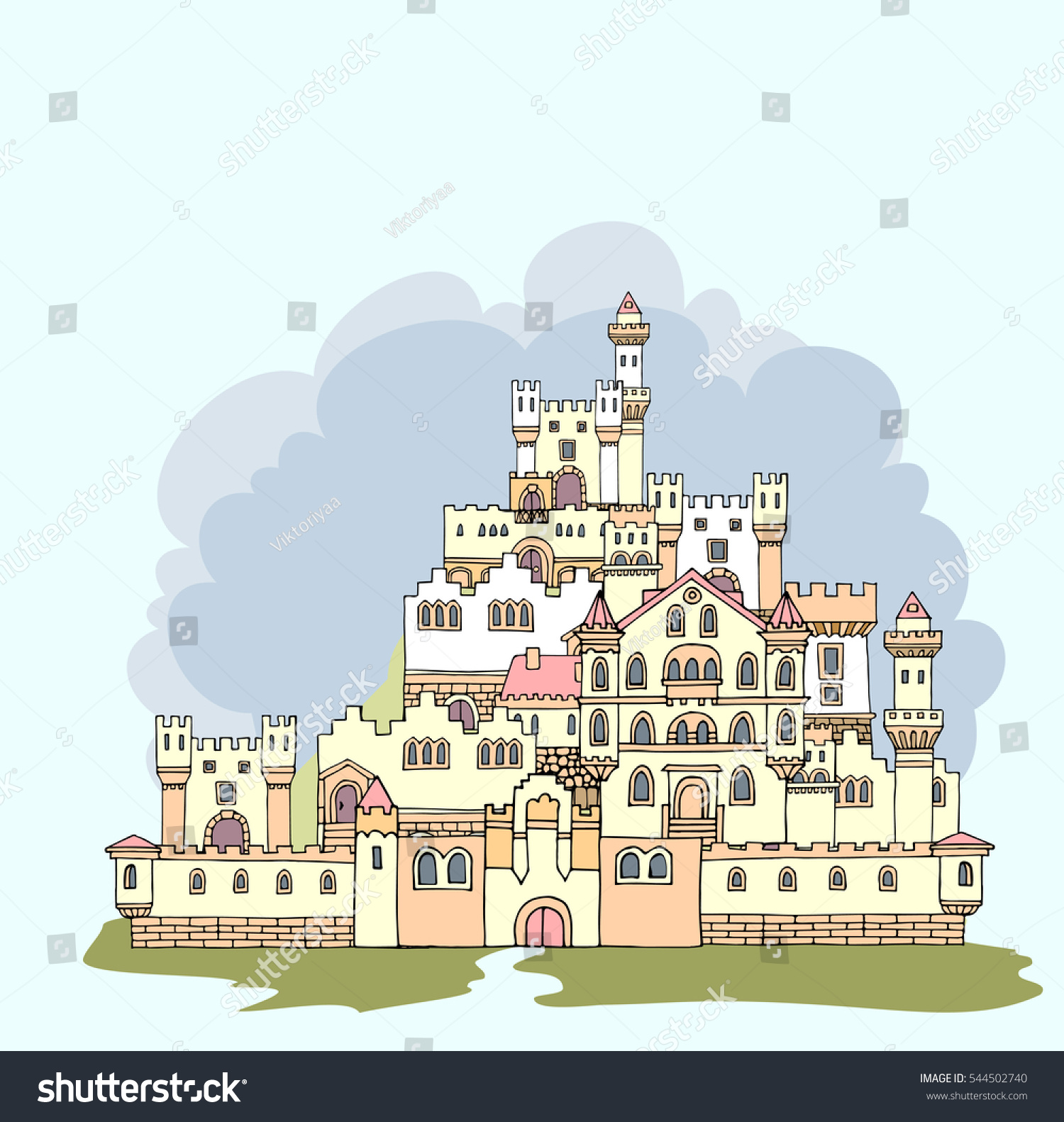 Landscape Ancient Me val Castle Hand Drawn Sketchy Stock