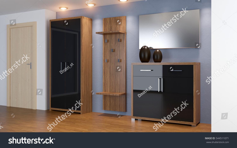 Modern Interior Small Apartment Hallway 3 D Stock