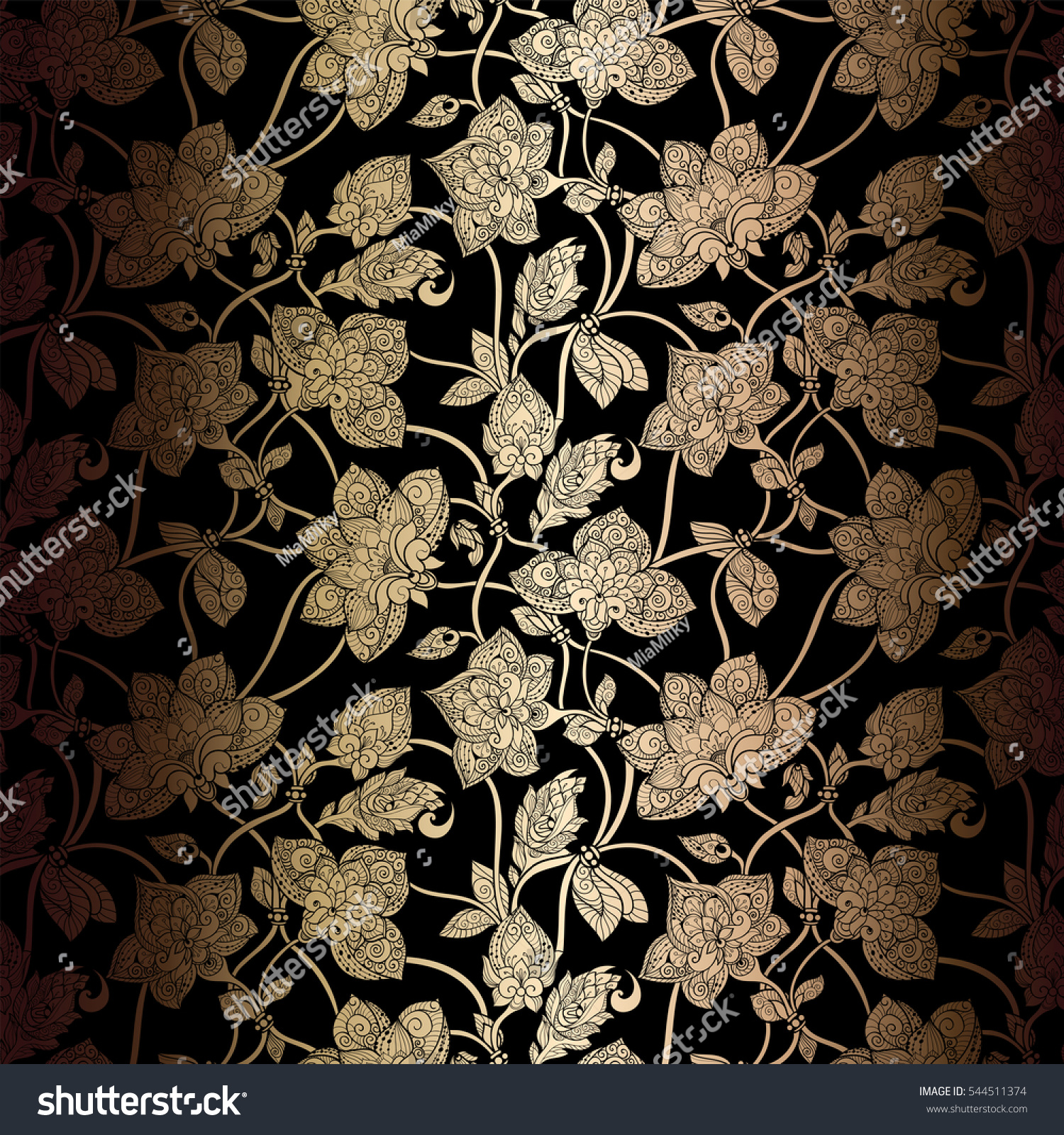 abstract seamless background antique luxury black stock