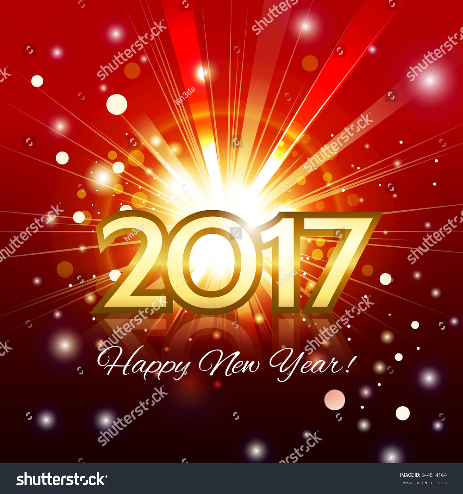 2018 Happy New Year Greeting Background With Spotlights Vector Ez