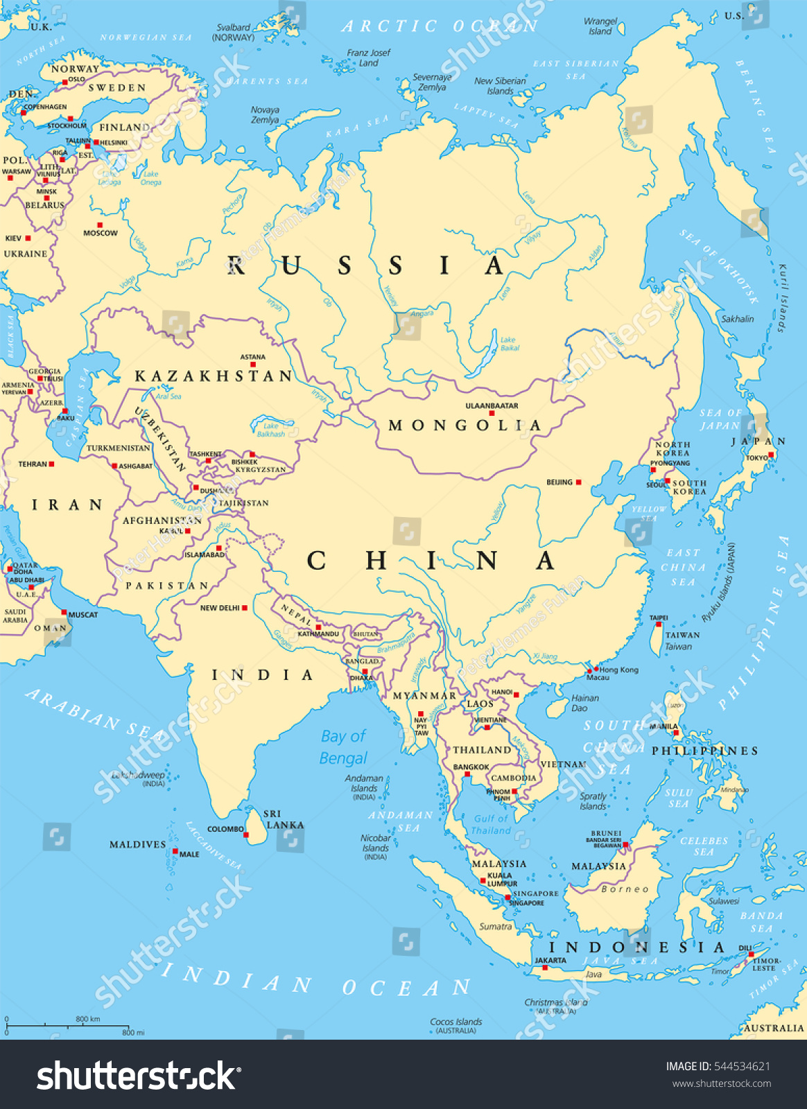 Asia political map capitals national borders vectores en stock asia political map with capitals national borders rivers and lakes largest continent with gumiabroncs Choice Image