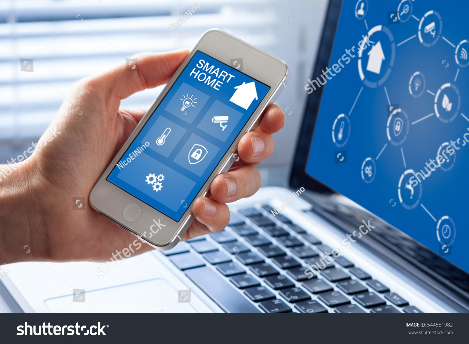 smart home automation app interface on stock photo 544551982 shutterstock. Black Bedroom Furniture Sets. Home Design Ideas