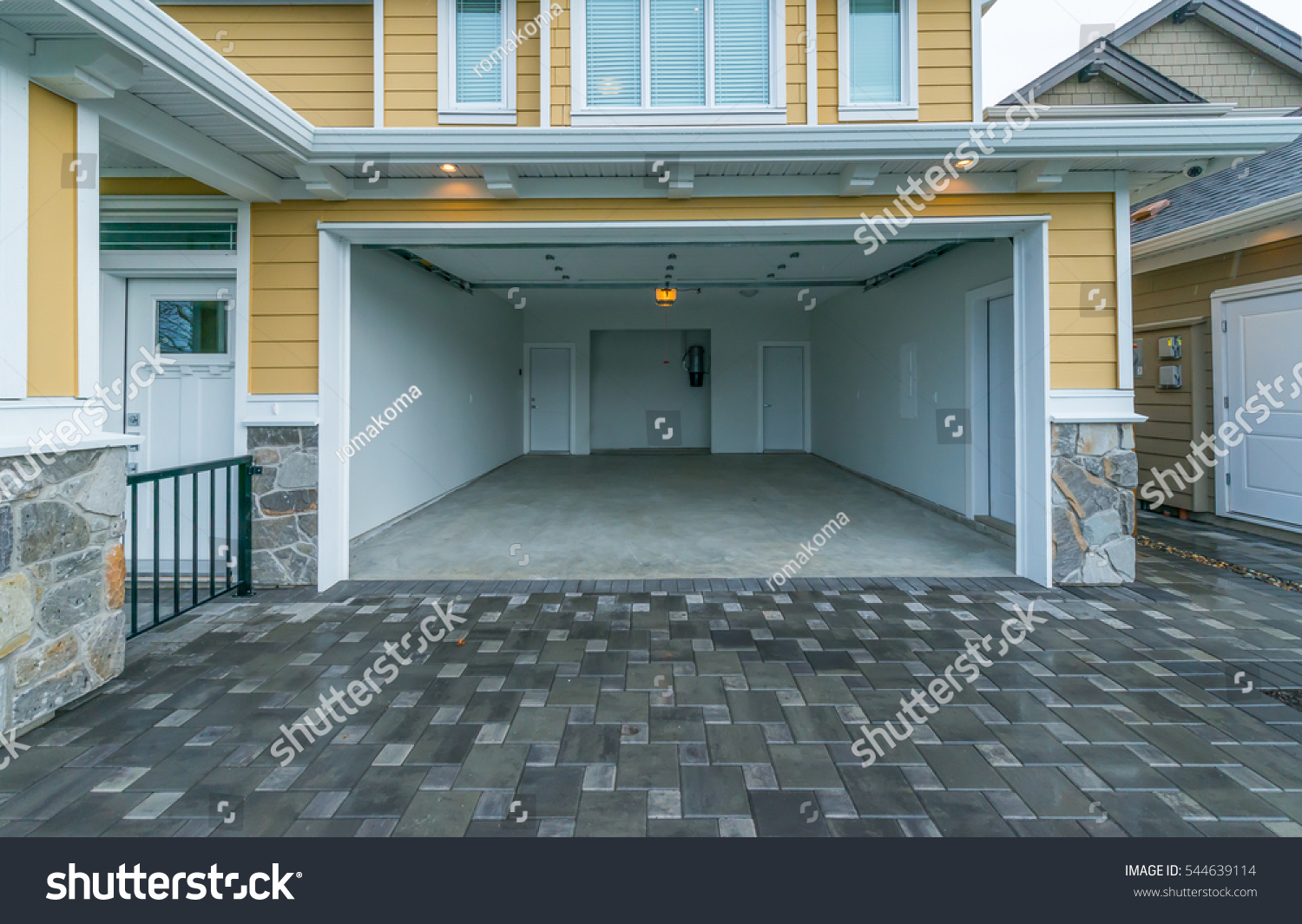 Interior Empty Garage Residential House Stock Photo