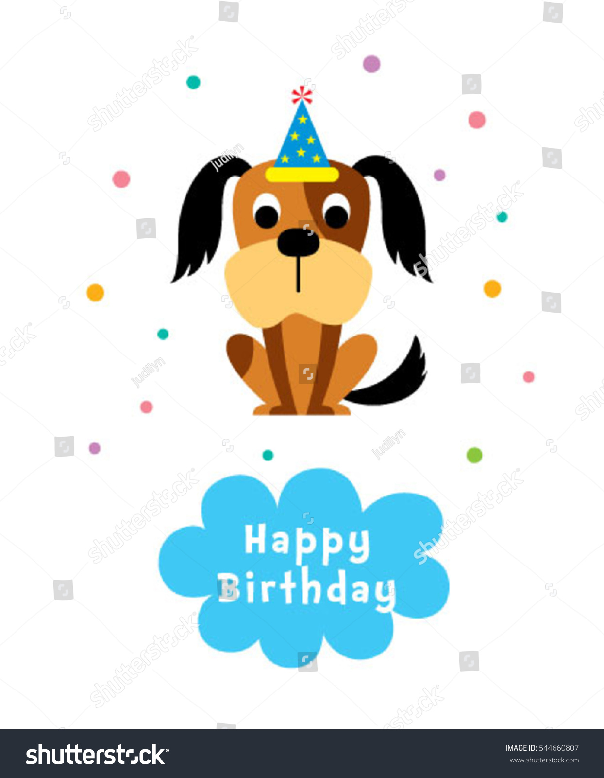 cute puppy happy birthday greeting card #544660807