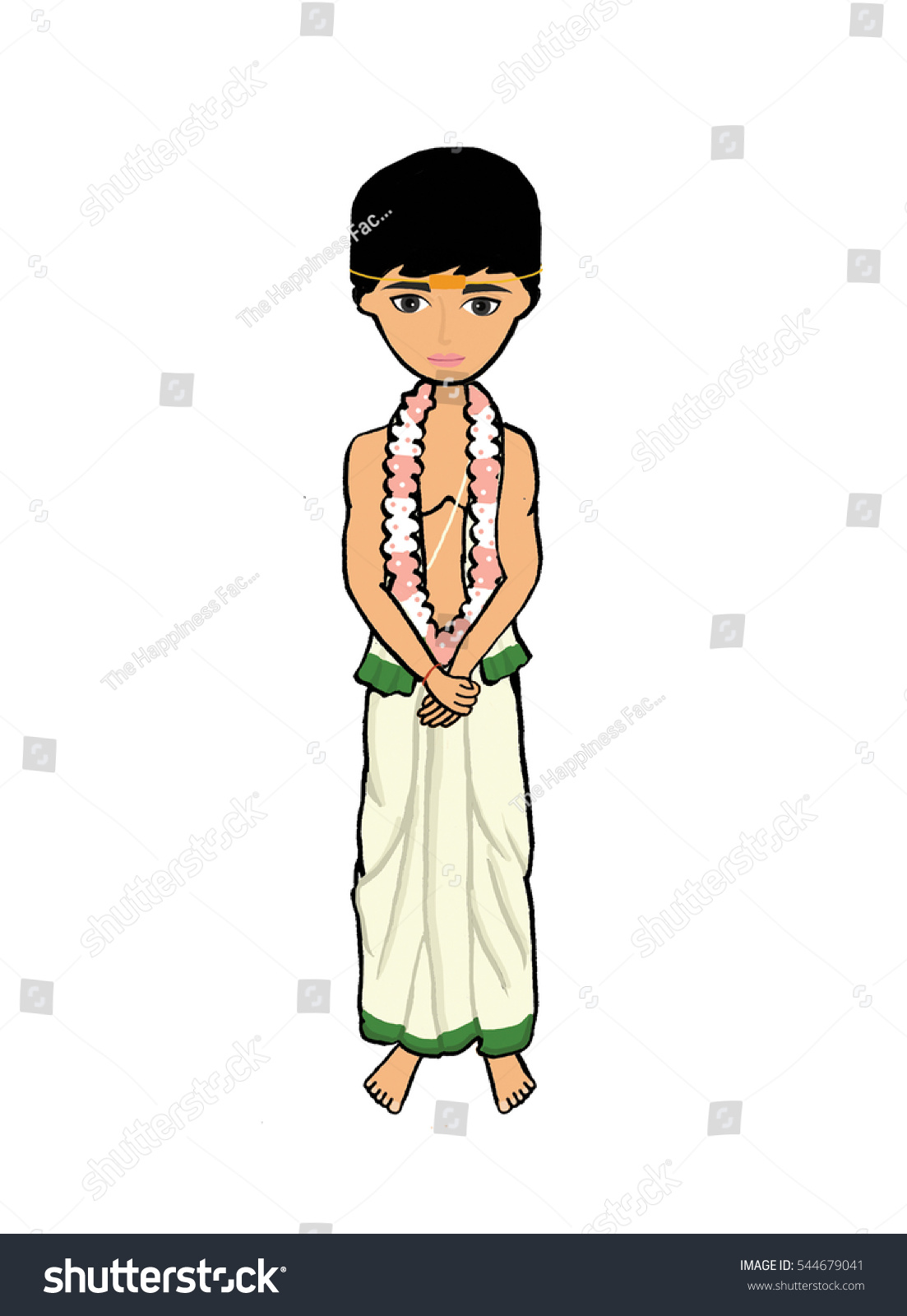 South Indian Wedding Groom Stock Illustration 544679041