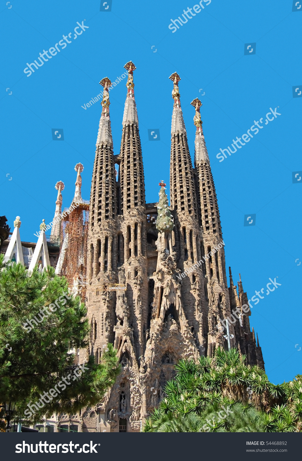 Barcelona, Spain - July 19: La Sagrada Familia - The Impressive Cathedral Des...