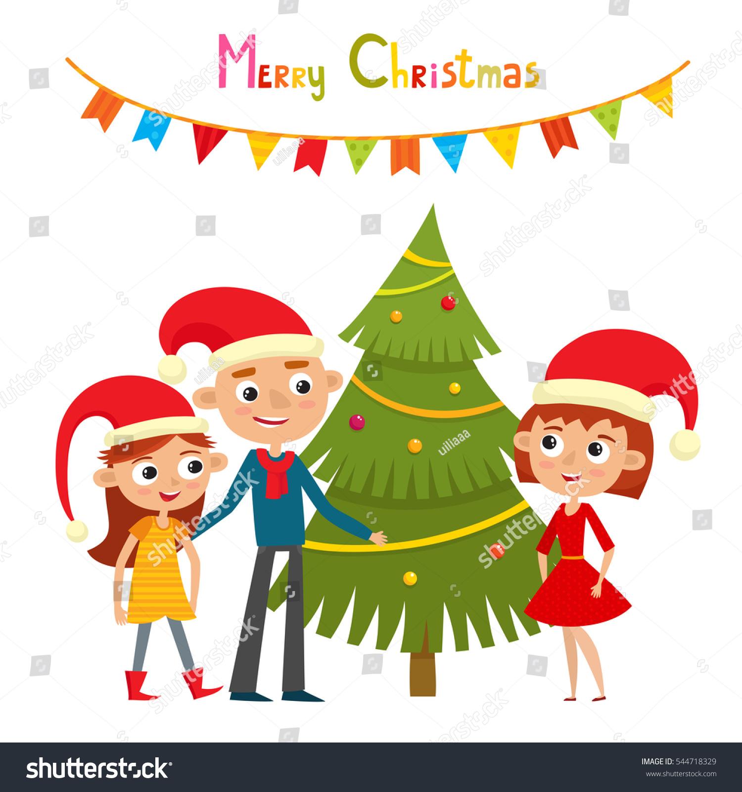 Happy Family Red Hats Near Christmas Stock Vector (Royalty Free ...