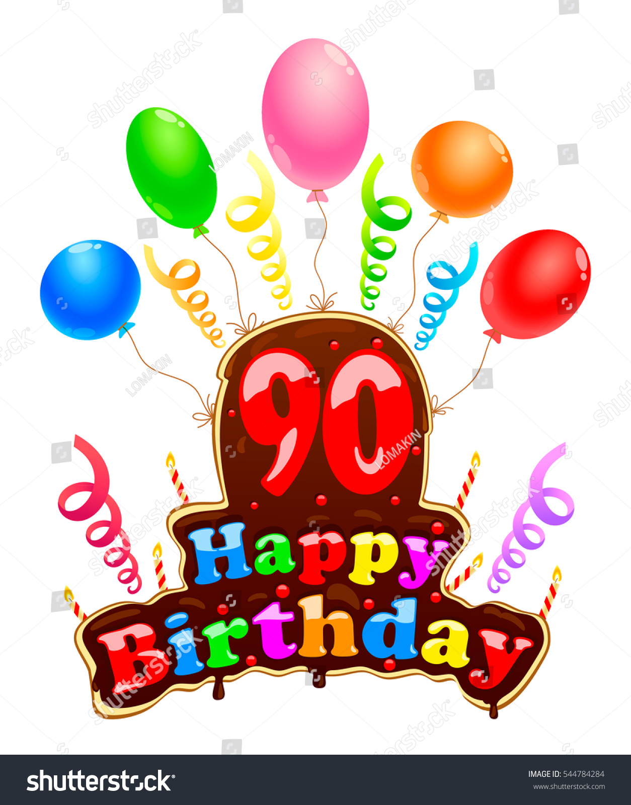 Happy Birthday Sign In The Form Of A Cake Banner Celebration Ninety Years With Balloons And Ribbons 90 Congratulations For