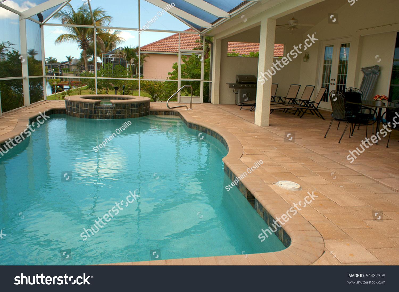 Wide angle view screened pool lanai stock photo 54482398 for Florida lanai