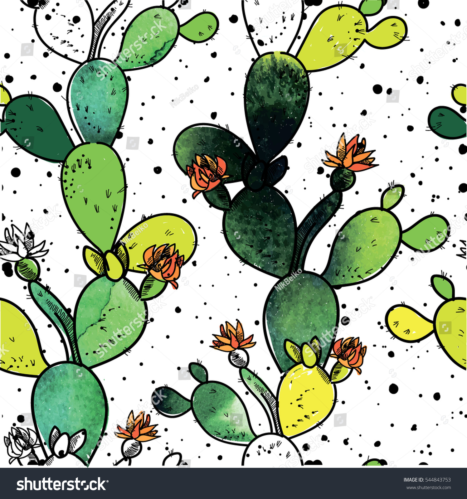 Stylish seamless pattern with cactus drawing by hand with paint texture blooming cactus