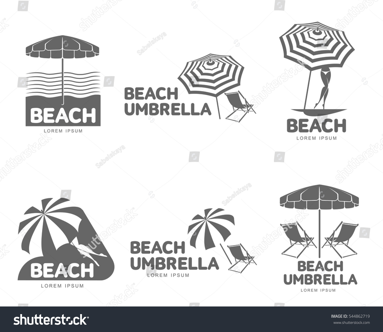 Chair beach umbrella and chair black and white - Logo Templates With Beach Umbrella And Sun Bathing Lounge Chairs Vector Illustration Isolated On White