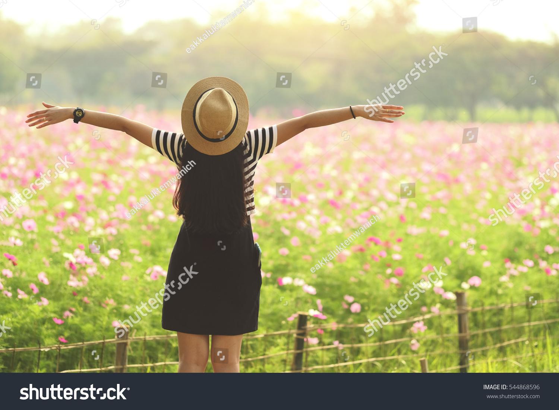Beauty Girl Outdoors Enjoying Nature Beautiful Stock Photo Edit Now 544868596