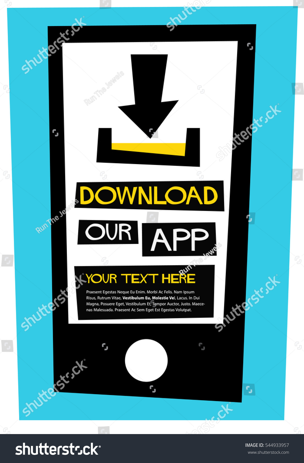 Poster design app - Download Our App Flat Style Vector Illustration Quote Poster Design With Text Box Template