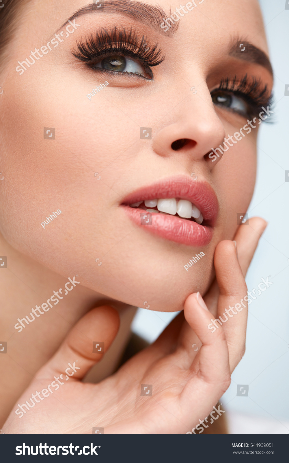 e6539f9b21f Closeup Of Young Female Model With Long Black Thick Fake Eyelashes, False  Eye Lashes. High Resolution. Royalty Free Stock ...