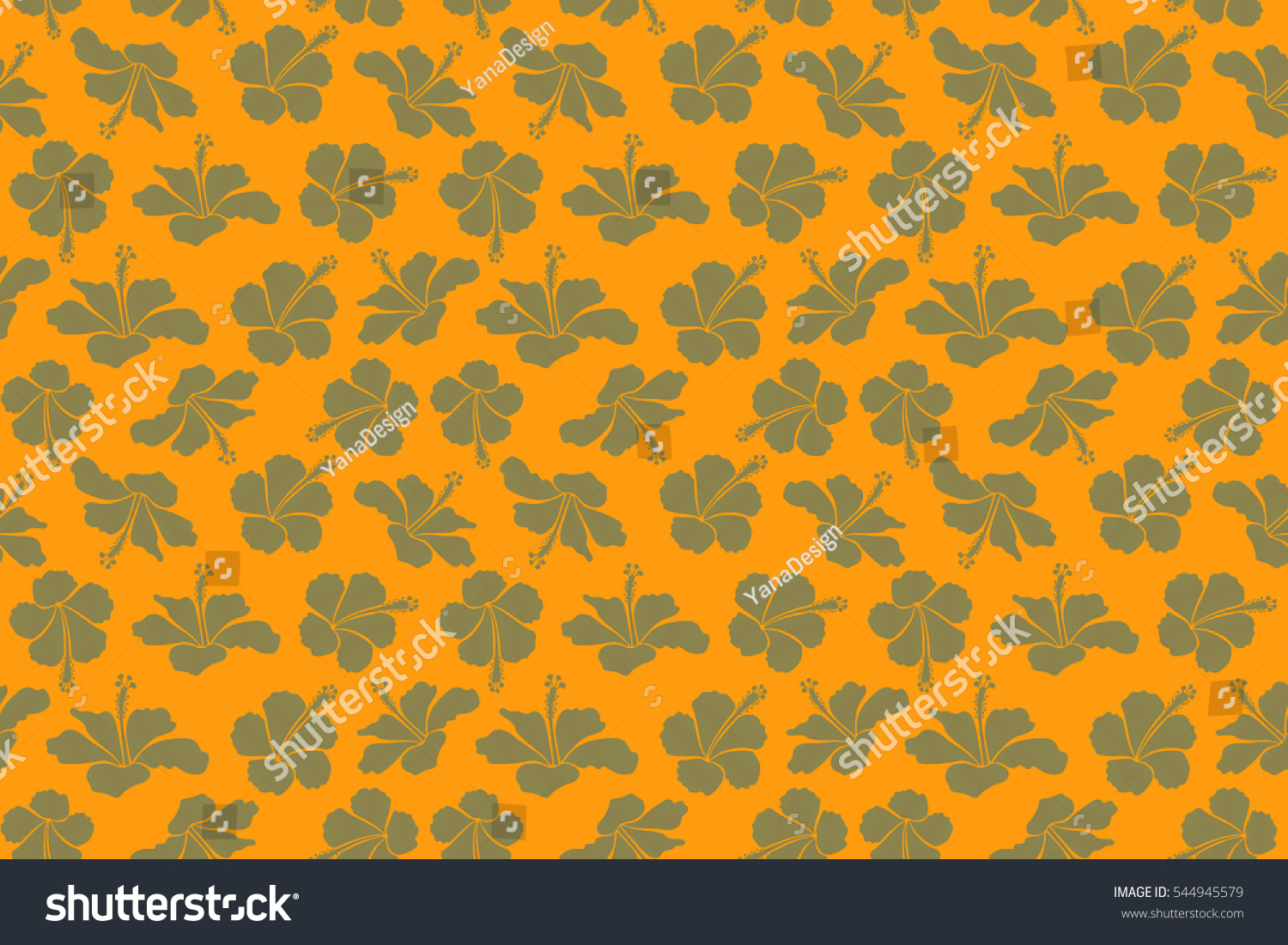 Yellow And Neutral Hibiscus Seamless Background Aloha Hawaiian