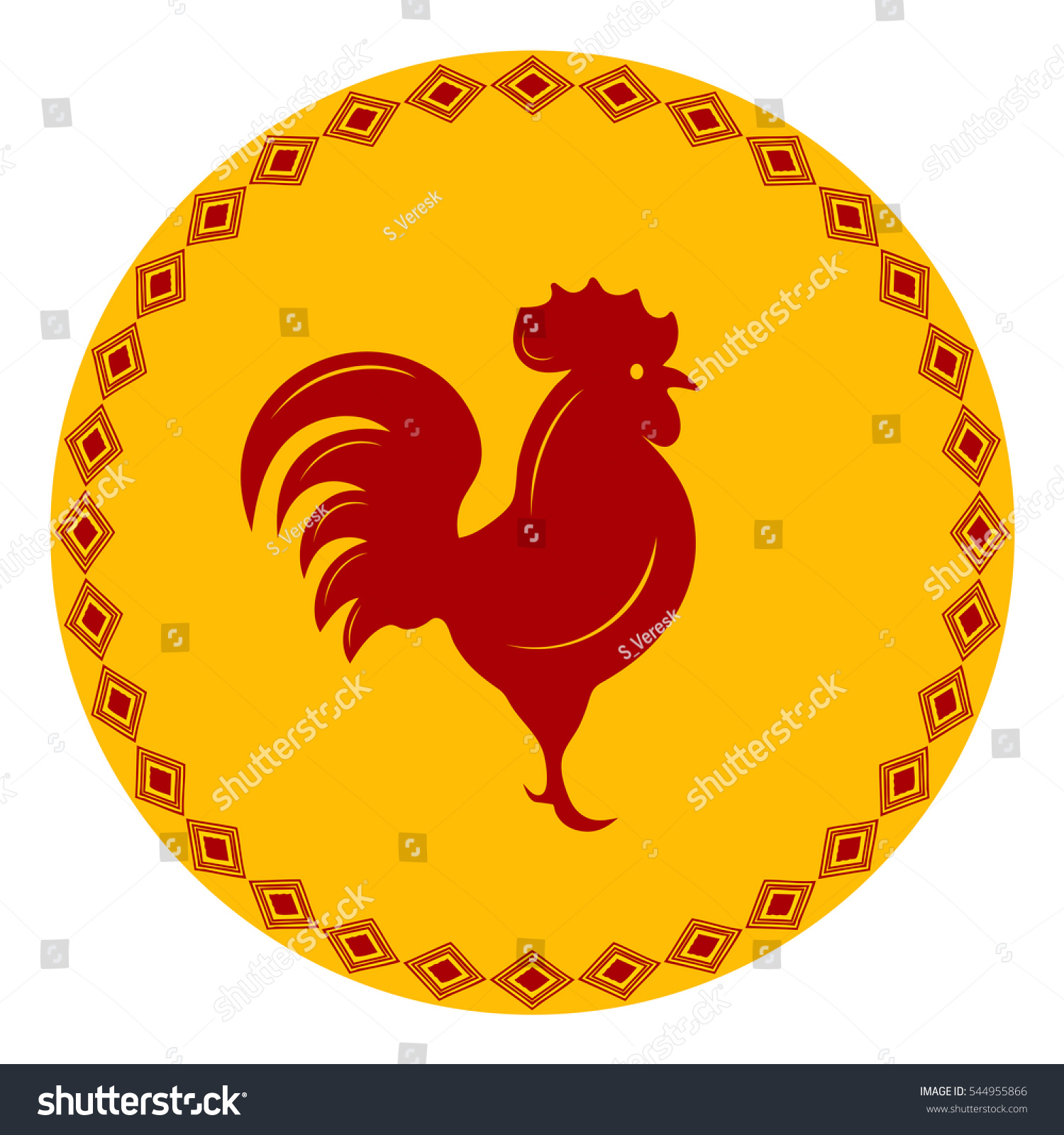 Red Rooster Frame Ornament Stock Vector HD (Royalty Free) 544955866 ...