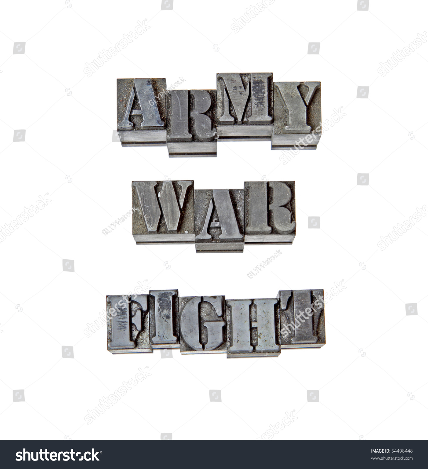vintage metal letters spelling army war and fight