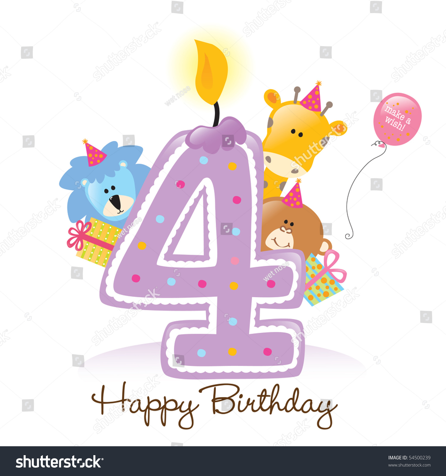First Birthday Candle With Animals Stock Photo: Jpeg Happy Birthday Candle And Animals Isolated Over White