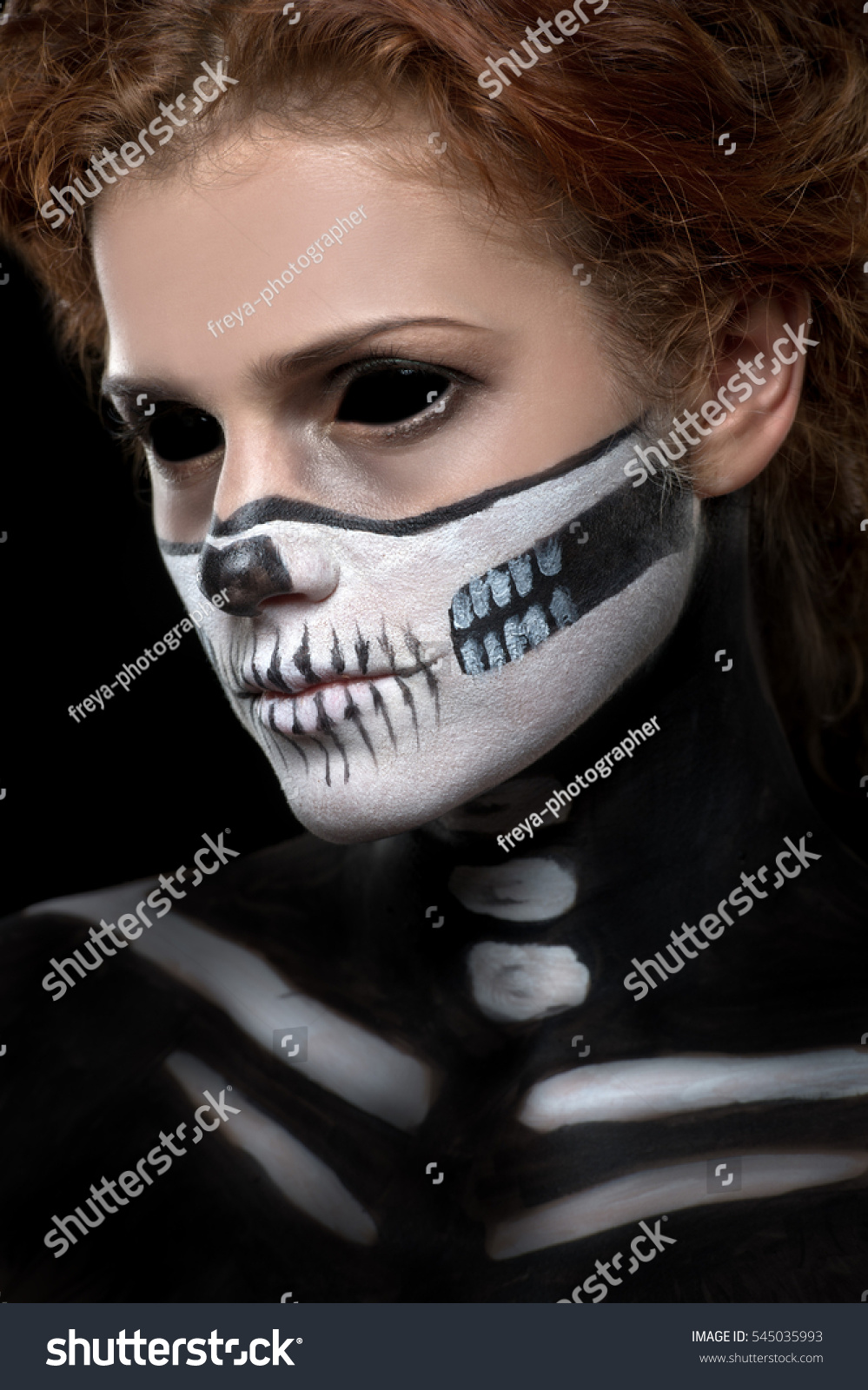 halloween woman in day of the dead mask skull face art halloween face art