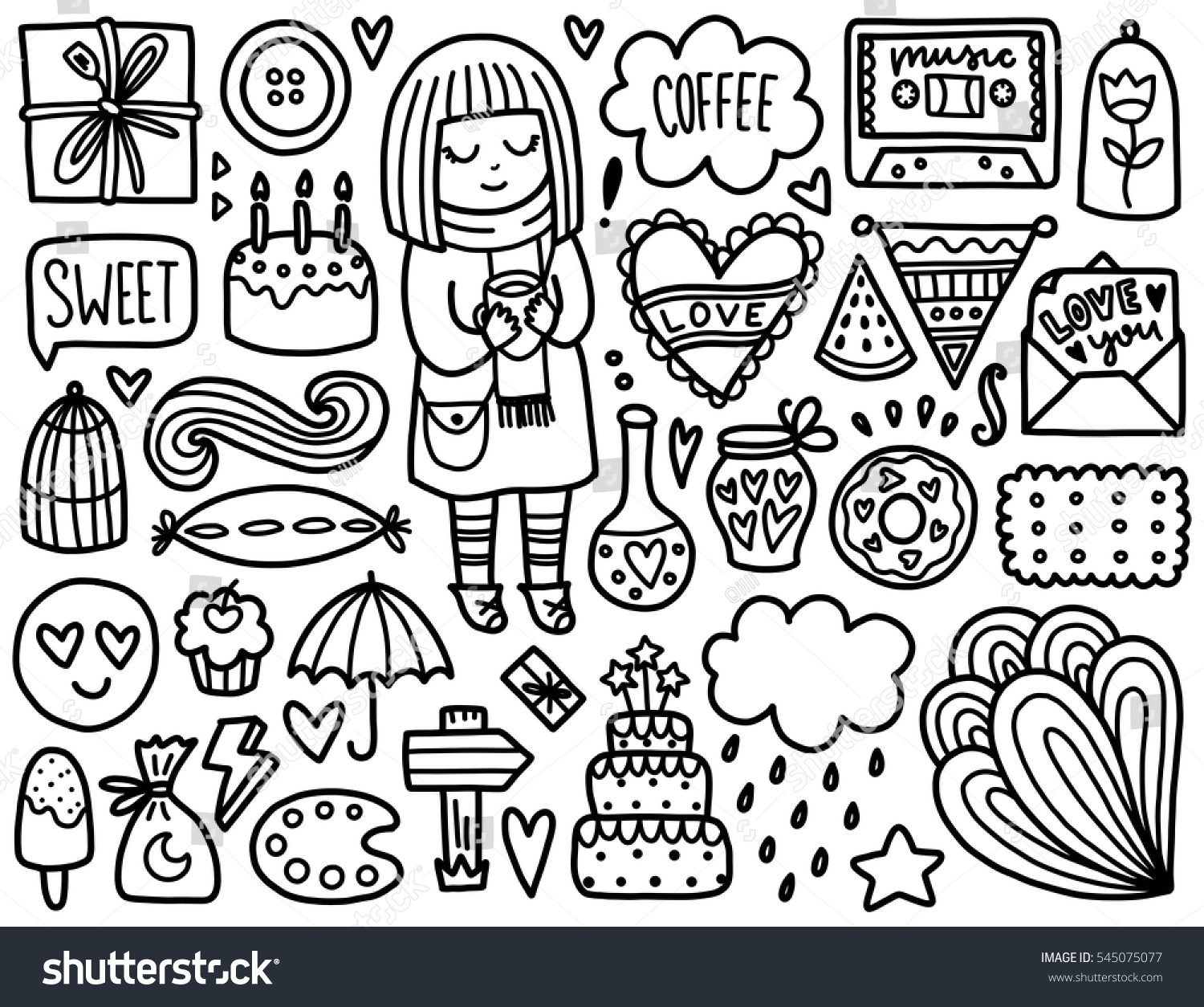doodles cute elements black vector coloring stock vector 545075077