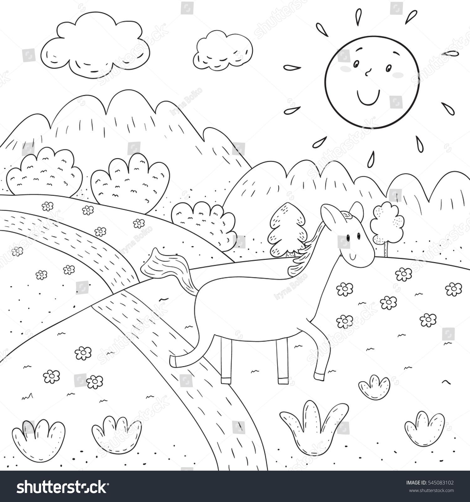 Coloring Bo | Coloring Book Horse Sunny Meadow Mountains Stock Vector Royalty