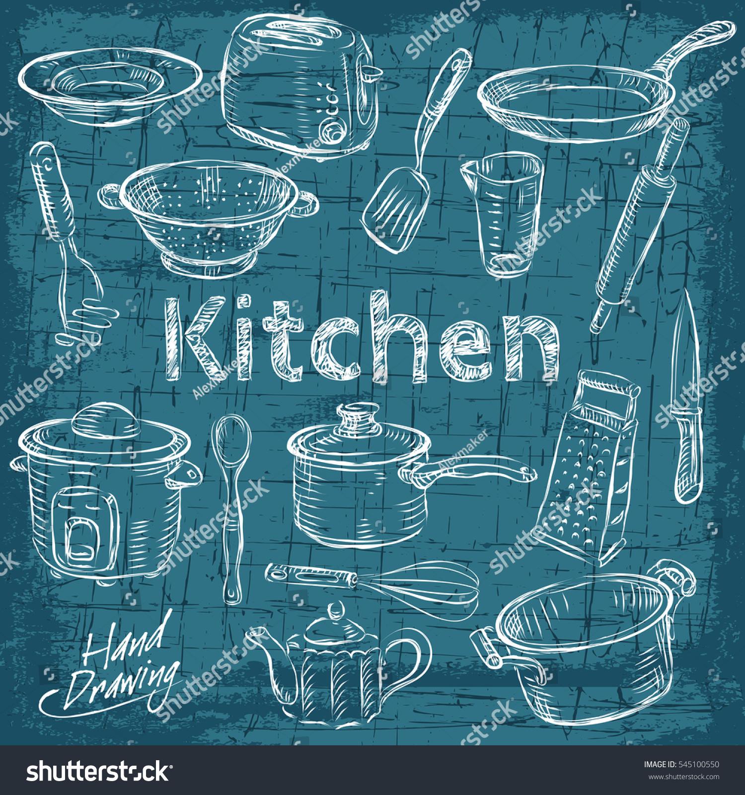 Big Set Kitchen Vintage Sketch Utensils Stock Vector 545100550 ...