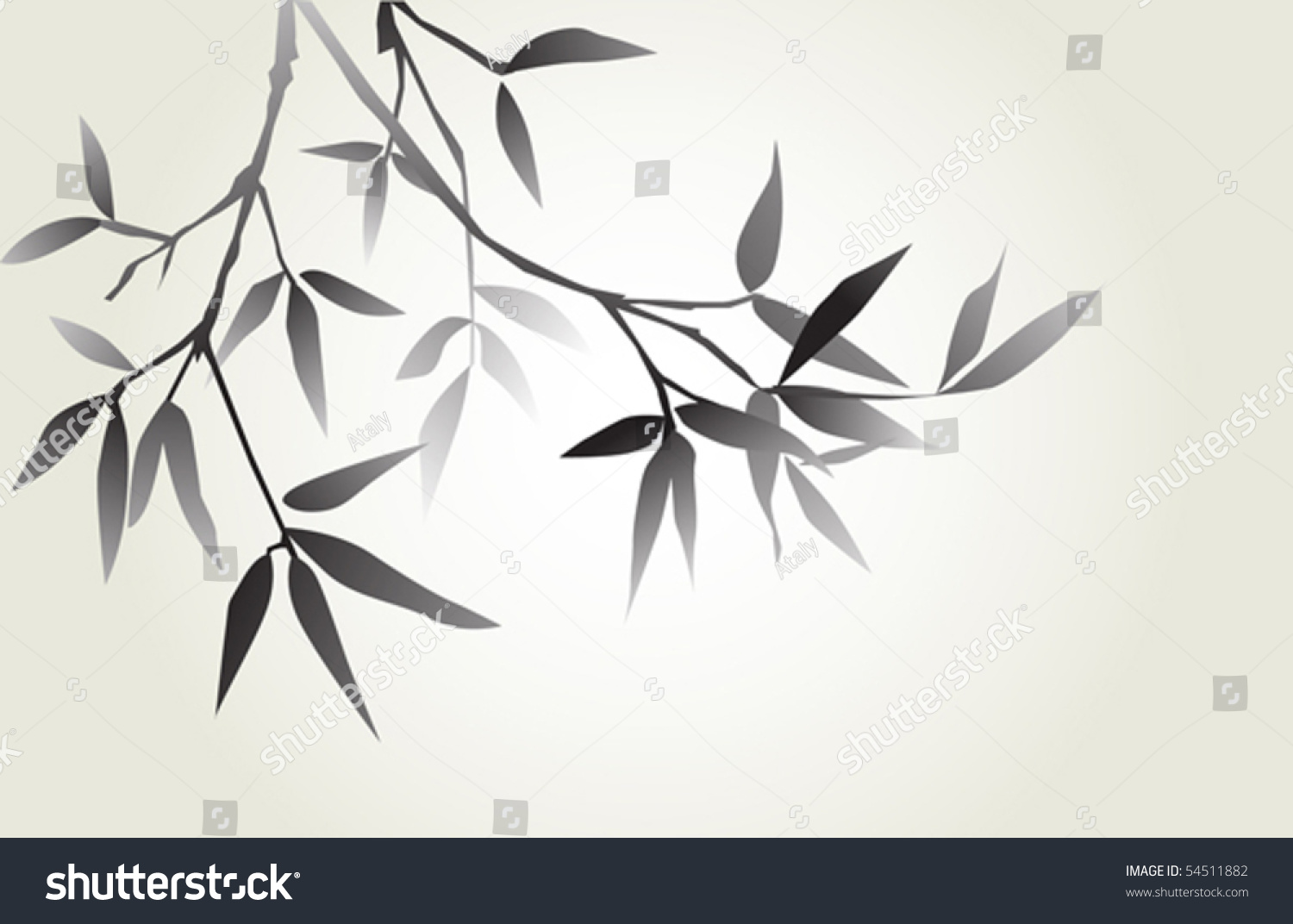 Japanese Calligraphy Bamboo Stock Vector Illustration