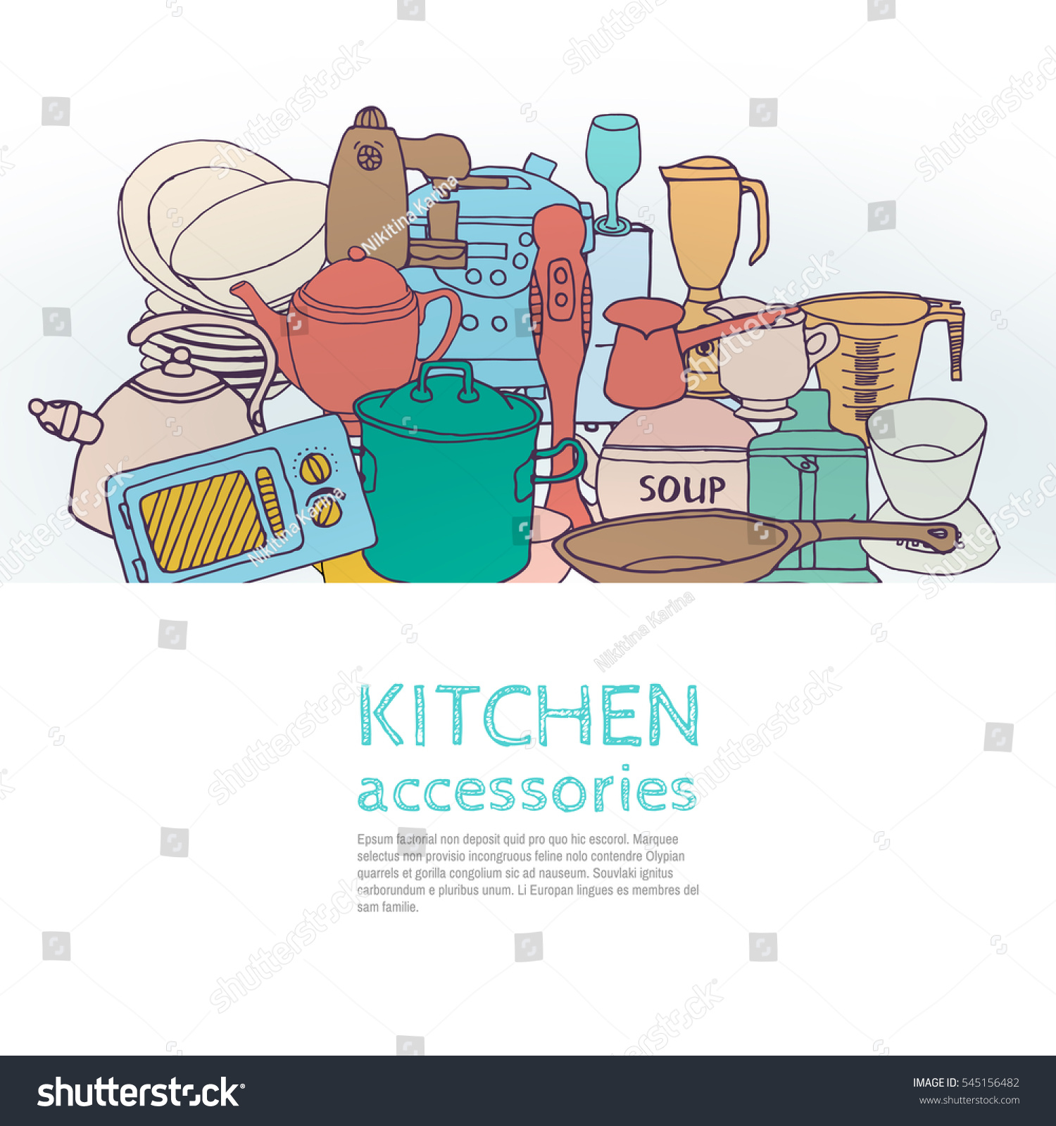 Sketch Doodle Illustration Kitchen Tools Ware Stock Vector (Royalty ...