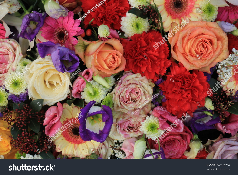 Mixed Flower Arrangement Various Flowers Different Stock Photo ...