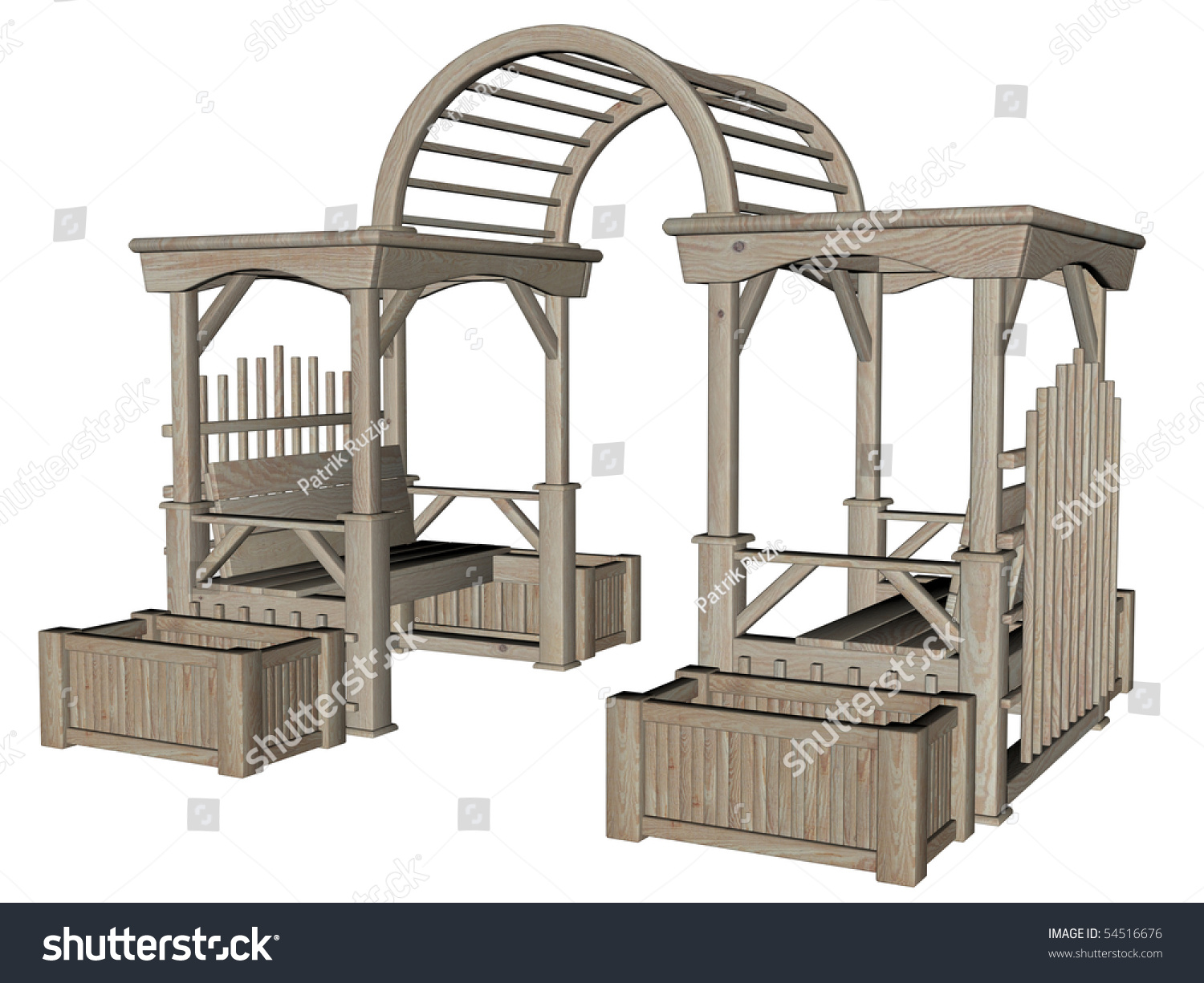 3d rendered garden furniture on white background isolated stock photo 54516676 shutterstock. Black Bedroom Furniture Sets. Home Design Ideas
