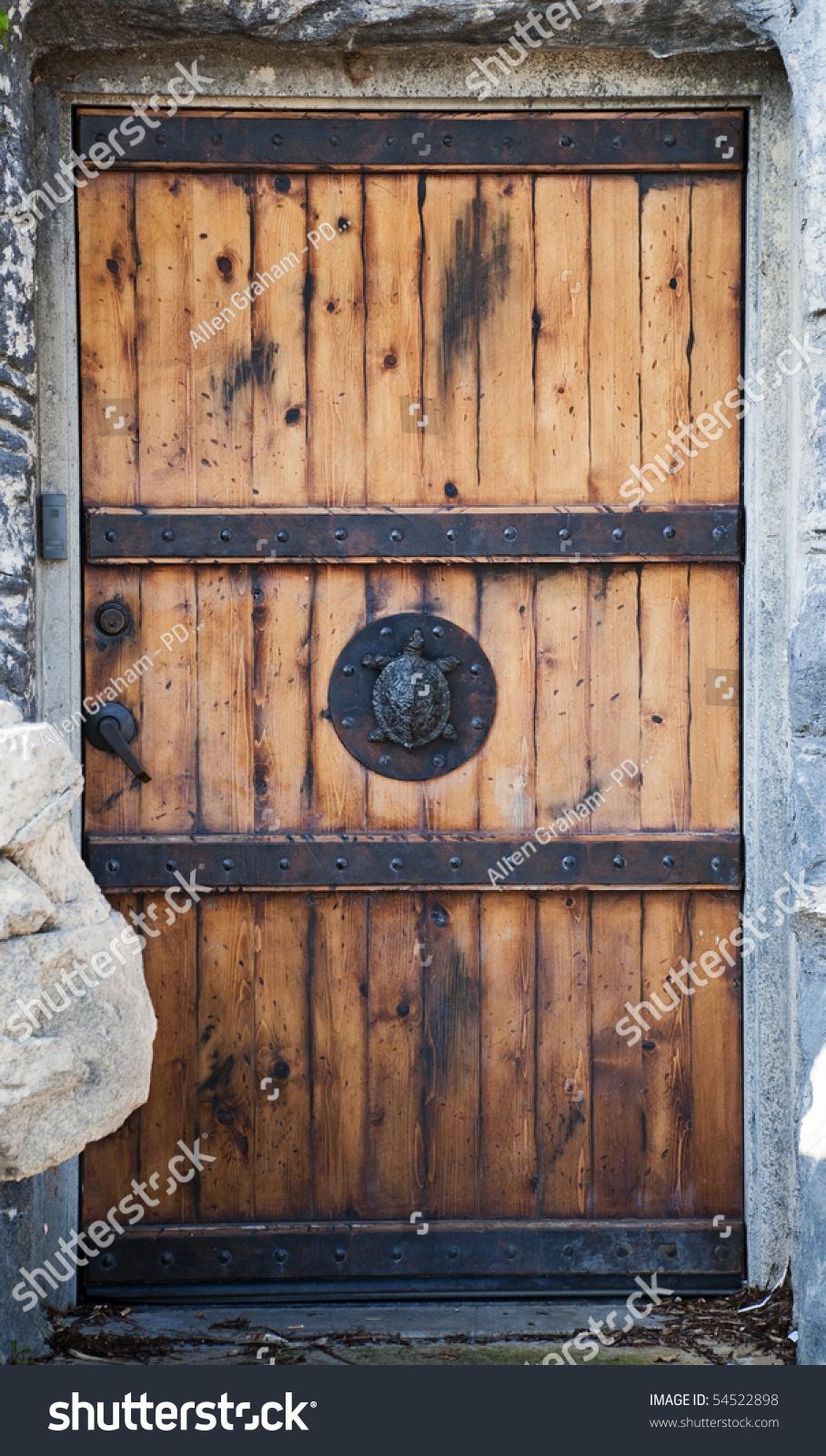 Old Reinforced Wood Door Turtle Door Stock Photo 54522898