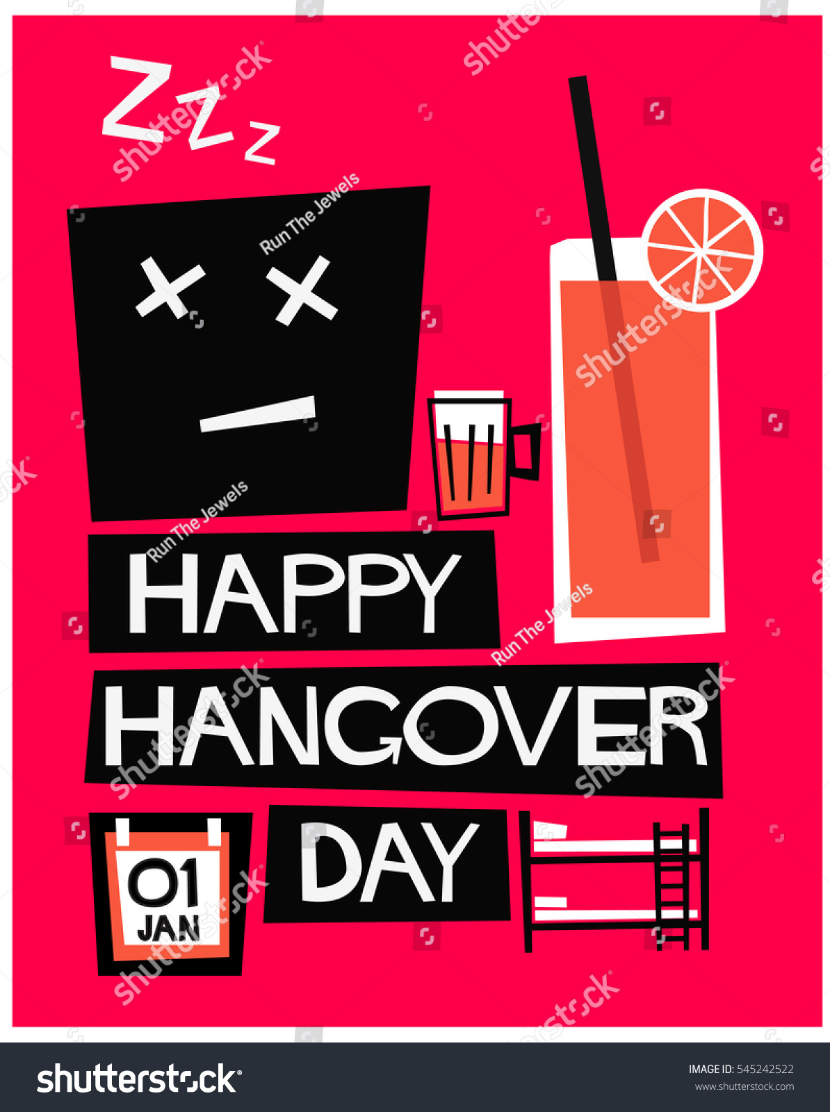 5c3277cbf0810 Happy Hangover Day 01 January (Flat Style Vector Illustration Alcohol  Poster Design)