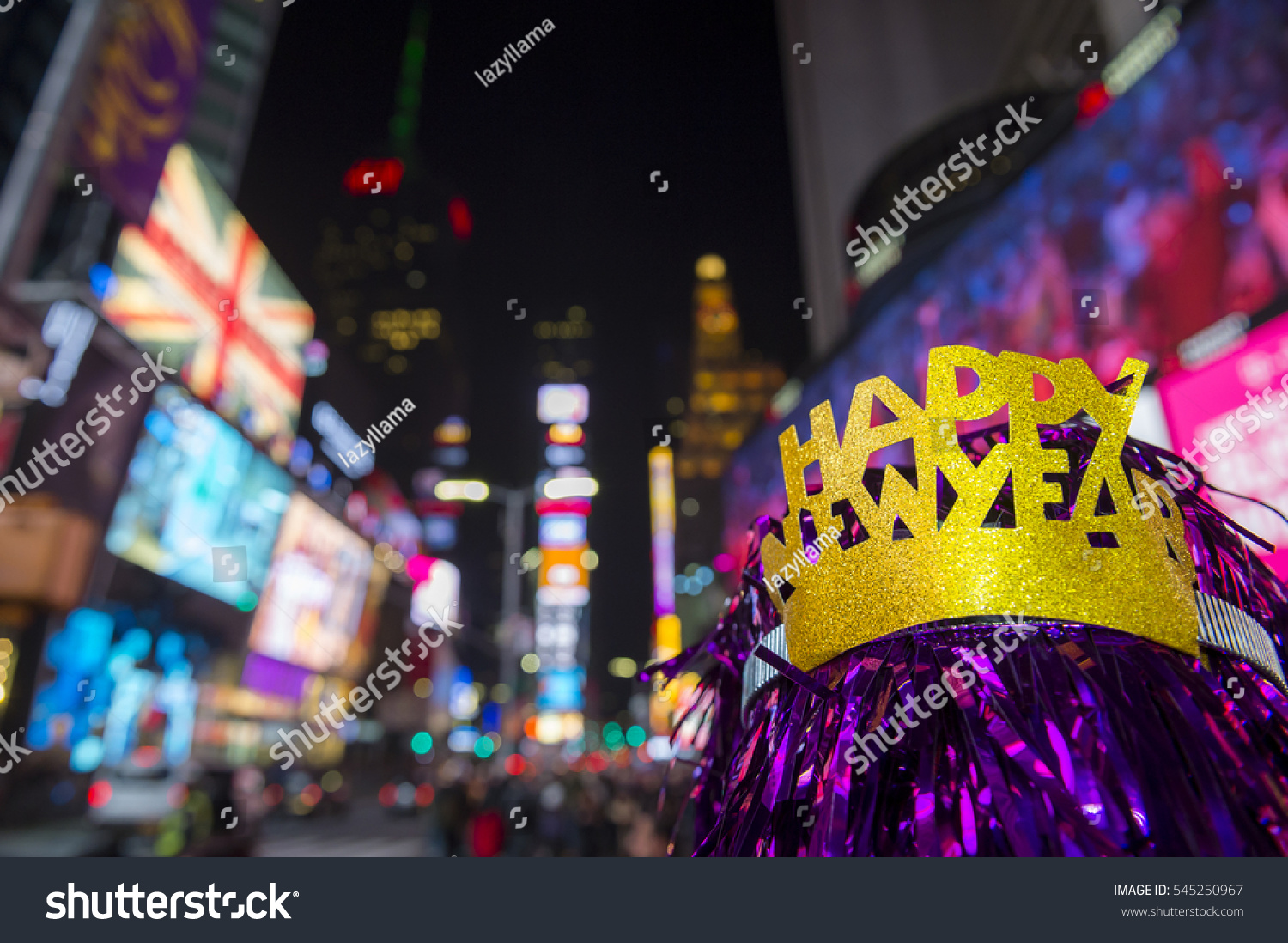happy new year party hat celebrating in times square new york city
