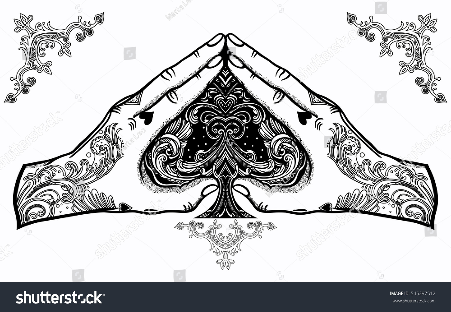 Heart Shape Hand Gesture Ace Spades Stock Vector Royalty Free