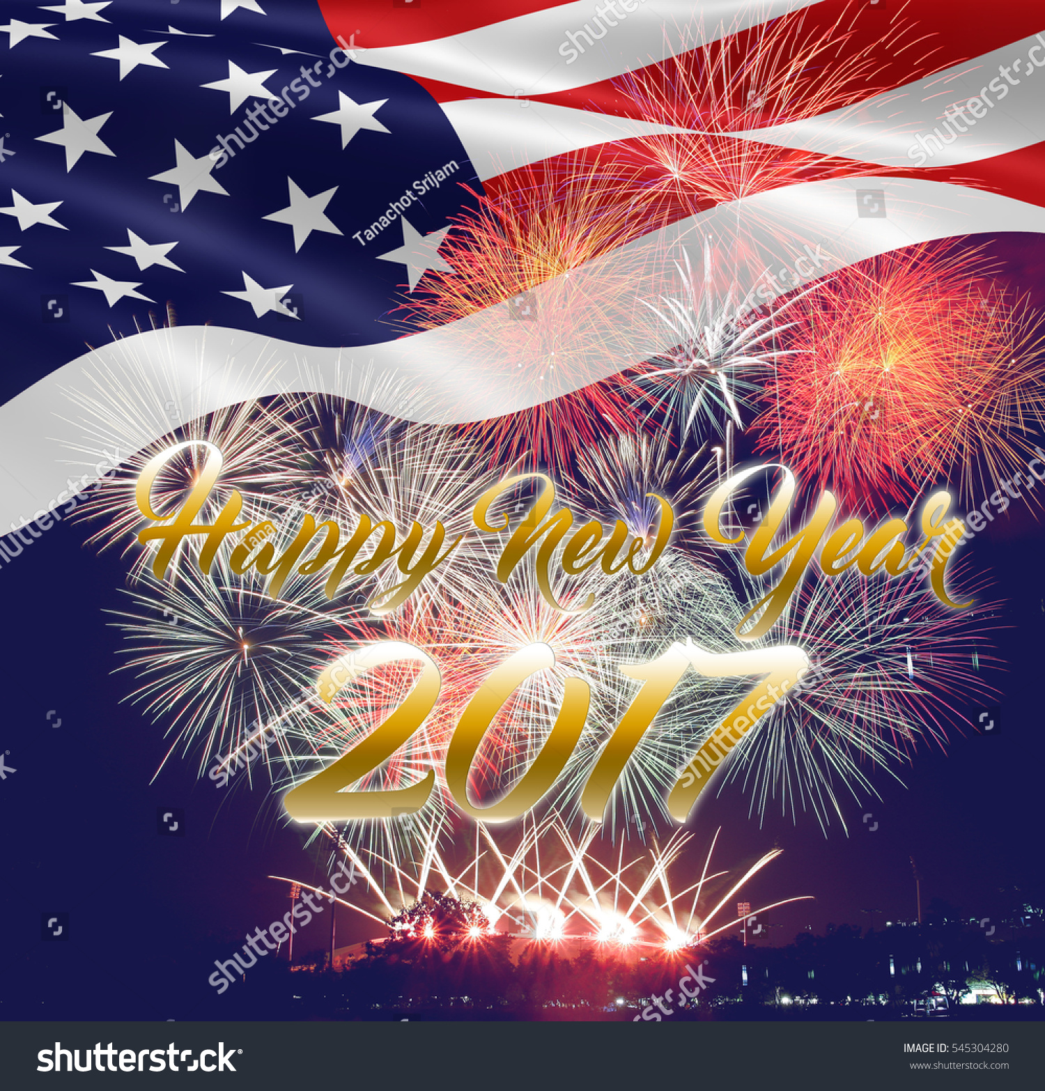 happy new year 2017 usa flag with fireworks background
