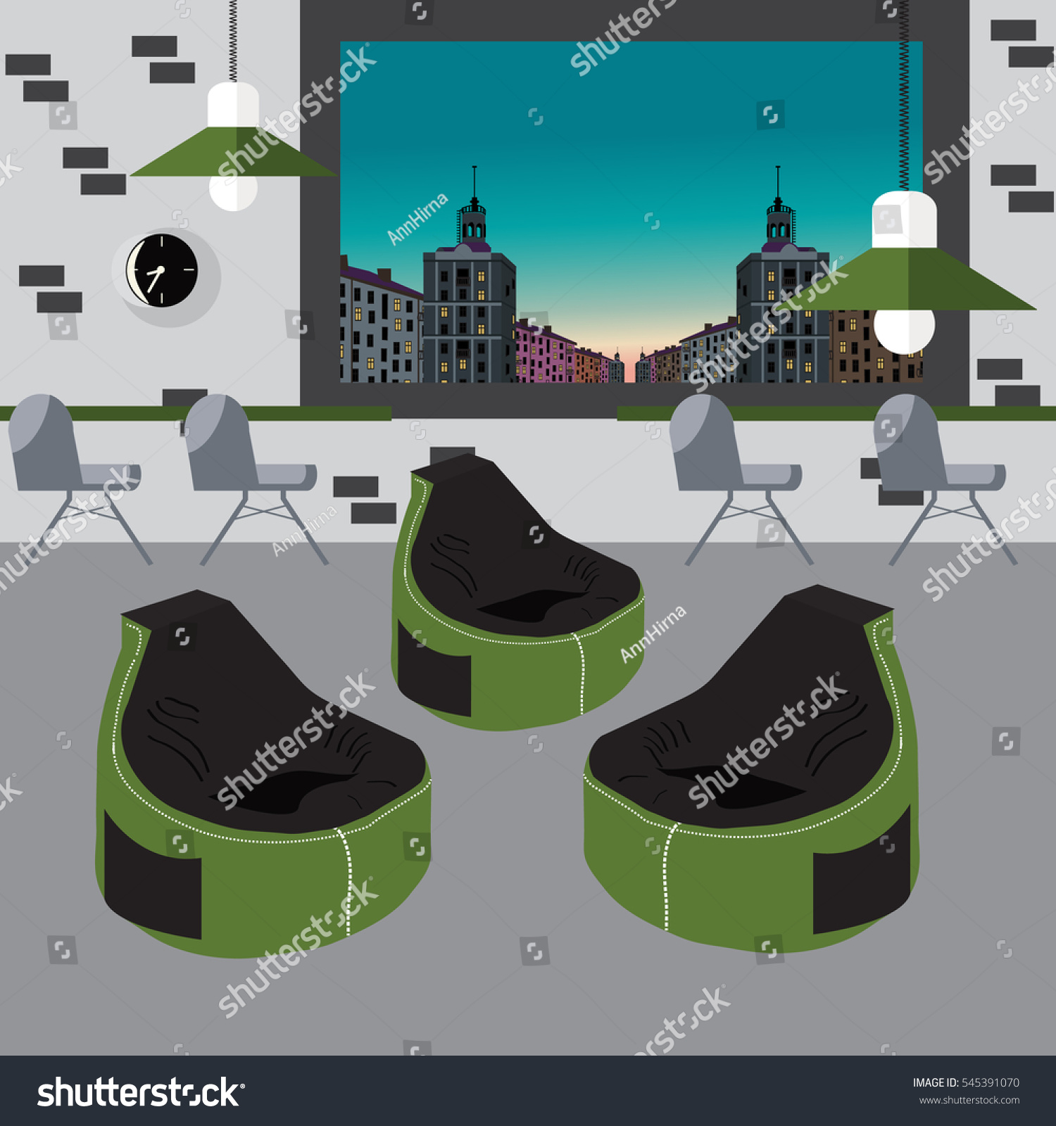 Bean Bag Chair With City View From Window Good Idea For Office Workplace Interior