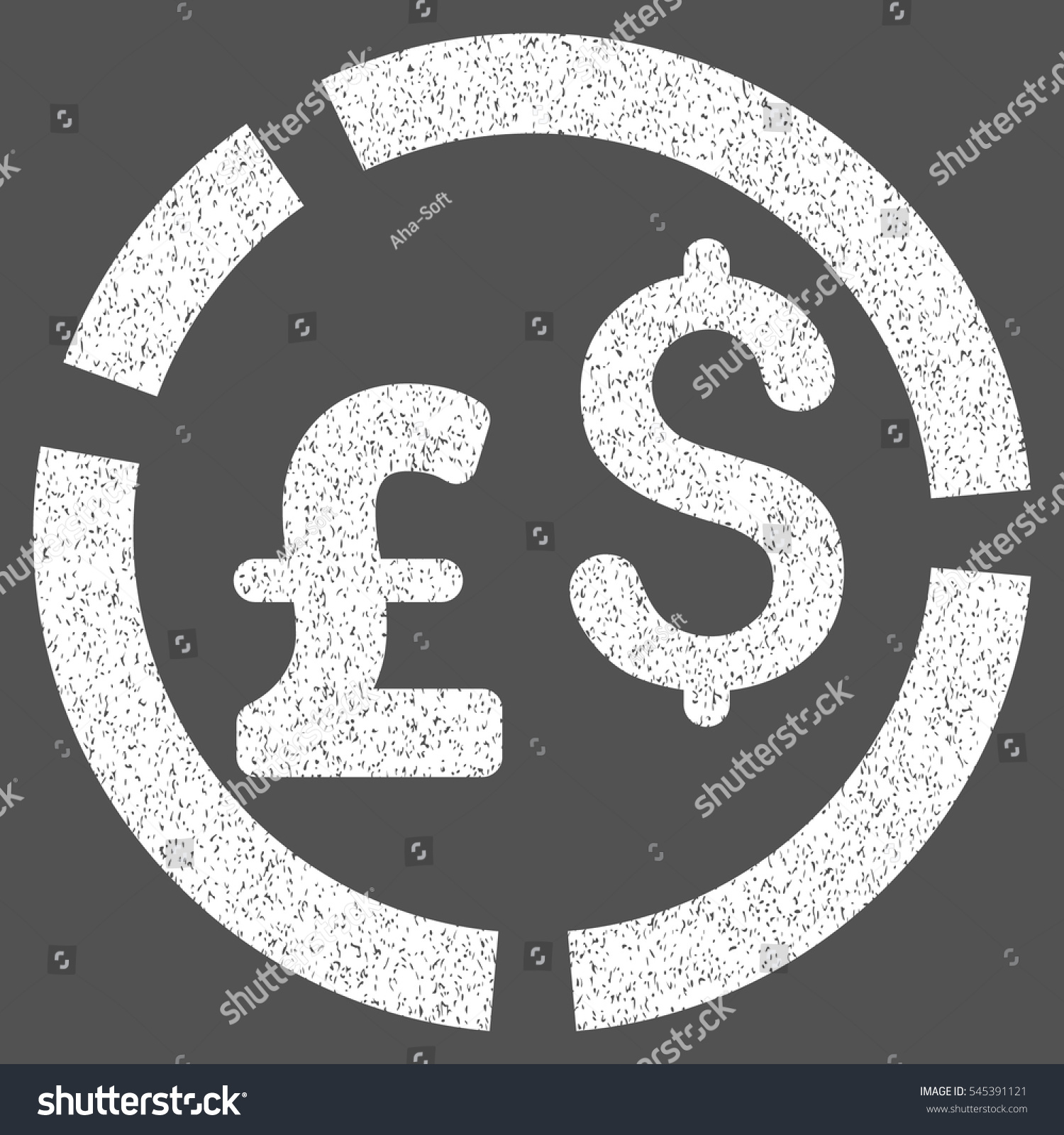 Pound Dollar Currency Diagram Grainy Textured Stock Vector Royalty