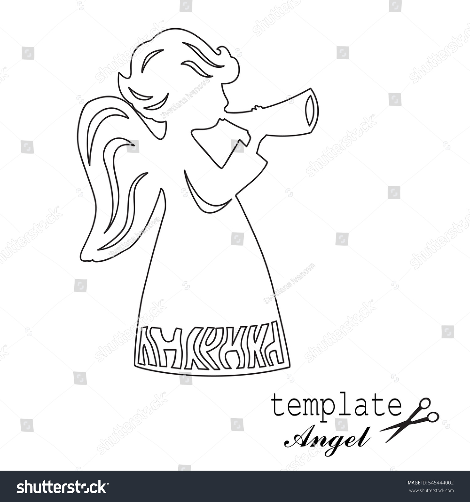 Template Angel Cut Laser Engraved Stencil Stock Vector 545444002